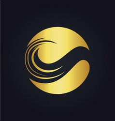 leaf round ecology gold logo vector image vector image