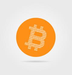 orange bitcoin logo with shadow vector image