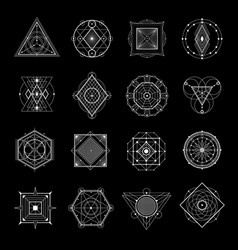 sacred geometry on black set vector image vector image