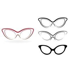 Set of modern glasses isolated on white background vector image