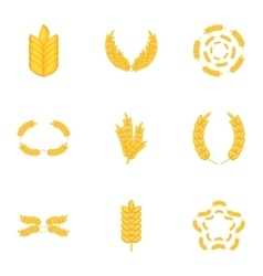 Wheat rye or barley icons set cartoon style vector image