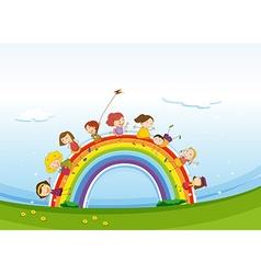 Children standing over the rainbow vector image vector image