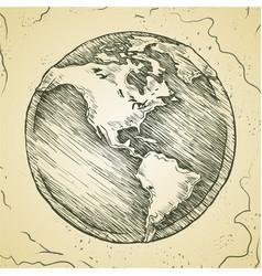 globe outline drawing doodle sketch vector image