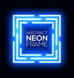Neon light abstract squares square background vector
