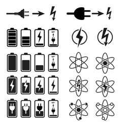 Set of battery charge level indicators on white vector image