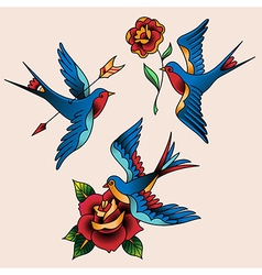 tattoo set swallow vector image vector image