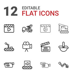 12 production icons vector