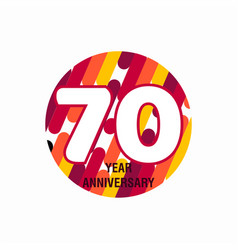 70 year anniversary purple template design vector