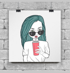 a painted girl drinking juice tea coffee vector image