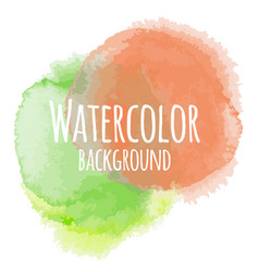 Abstract watercolor background green and orange vector