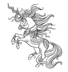 Beautiful ornate unicorn coloring book vector