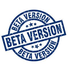 Beta version blue round grunge stamp vector