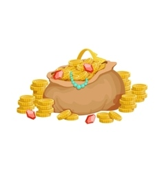 Big Sack With Golden Coins And Jewelry Hidden vector image