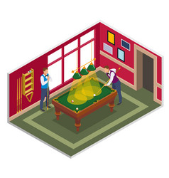 billiards game isometric composition vector image