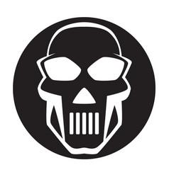 black and white human skull icon symbol or emblem vector image