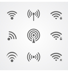 Black wi-fi icons isolated on white background vector image