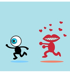 blue eye runaway the red mouth vector image