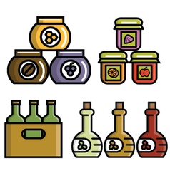 bottles and jars icons vector image