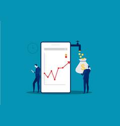 Businessman watch phone analyze growth market vector