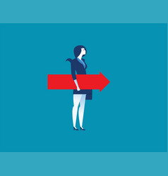 businesswoman holding the red arrow vector image