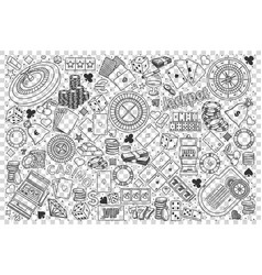 casino doodle set vector image