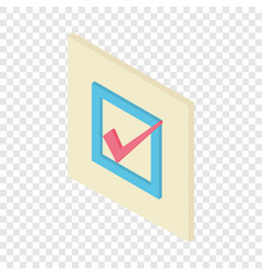 Check mark icon isometric 3d style vector