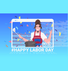 Chef wearing apron with usa flag happy labor day vector
