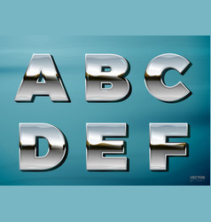Chrome letters with landscape relection vector