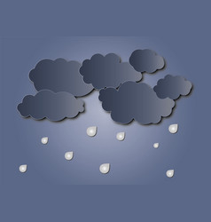 cloud and rain on dark background vector image