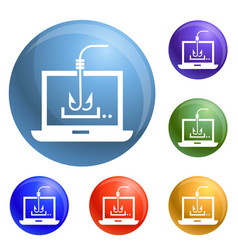 Computer phishing icons set vector