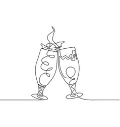 Continuous line two clinking glasses beer vector
