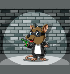 Criminal mouse standing and holding green gun vector