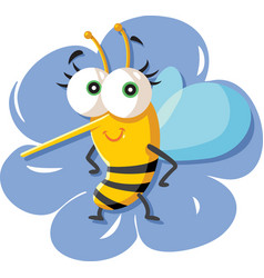 cute cartoon bee sitting on a flower vector image