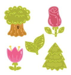 Cute cartoon rose tulip tree oak set vector