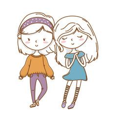 Cute couple girls friends vector