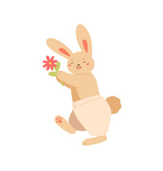 cute smiling rabbit with flower flat vector image