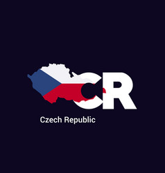 Czech republic initial letter country with map vector