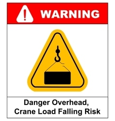 Danger overhead load sign vector