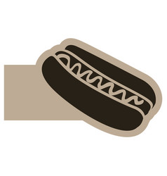Dark contour hot dog icon vector