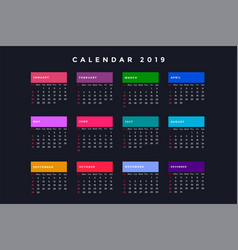 Dark new year calendar for 2019 vector
