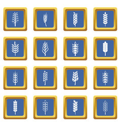 Ear corn icons set blue vector