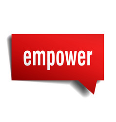 Empower red 3d speech bubble vector