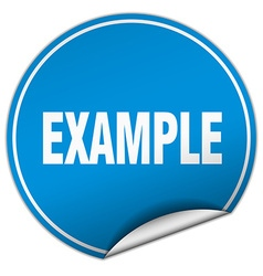 Example round blue sticker isolated on white vector