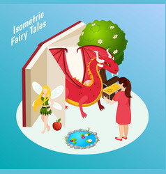 fairy tales isometric composition vector image