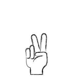 figure hand with peace and love gesture symbol vector image