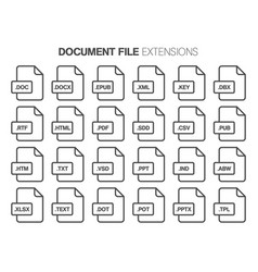 Flat style icon set document text file type vector