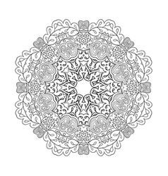 Floral lace motifs mandala relax coloring vector