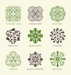 floral logo botanical stylized elements vector image