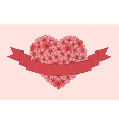 flowers hand-drawn in shape a heart vector image