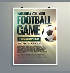 football event flyer design with tournament vector image